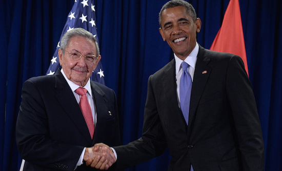 Barcak Obama and Raul Castro